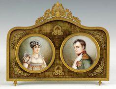 Josephine & Napoleon Miniatures on Ivory. 19th cent. Signed: H. Arnold.  (via liveautioneers)