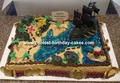 Pirate Treasure Map Cake: My son was having a Pirates of the Caribbean birthday and wanted a cake to match.  We like some of the pirate cakes and we liked the treasure map cakes,