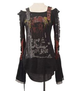 Punk Rave Womens Gothic Cardigan Tee Shirt Top Visual Kei Printed fashion S-XXL Alternative Measures