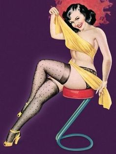 6d660743726 Pin Up Art Brunette With Mesh Stockings And Poster Print (36 x 54)