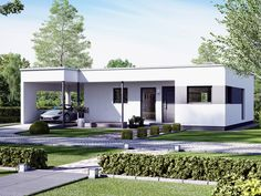 Bungalow SOLUTION 78 – Living Haus Modern bungalow with design carport. Flat Roof House Designs, Modern Bungalow House Design, Simple House Design, Bungalow House Plans, House Front Design, Bedroom House Plans, Modern House Plans, Small House Plans, Free House Plans