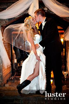 wedding dress w/ cowboy boots