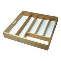 Large Wooden Cutlery Tray Drawer Storing Kitchen Cutlery - Beechwood: Amazon.co.uk: Kitchen & Home £11.85 Made of Beechwood   Insert Handles   Dimensions: W38cms x L38cms x D6cms approx. Square Shape with White Base