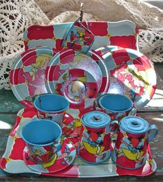 2 Vintage Ohio Art Tin Tea Sets Blonde Girl with Pigtail Doll 18 Piece Nice   eBay