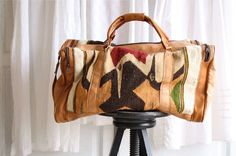 woven ethnic carpet bag weekender . leather carryall ...