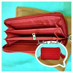 Red Wallet Material, tshirt yarn Size, 18x10cm Made to order