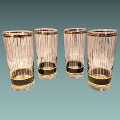 ca7bdaf4e58c Culver Glass Devon Set Barware Gold Black Retro MCM Mid Modern 22kt Classic  Bar Highball Tumbler Cocktail
