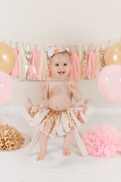 Pink Gold Birthday Tutu Skirt
