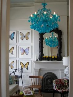 perch new orleans: our turquoise glass chandelier is here. Turquoise Chandelier, Turquoise Glass, Glass Chandelier, Chandelier Lighting, Teal Chandeliers, Home Decor Inspiration, My Dream Home, Living Room Furniture, Sweet Home
