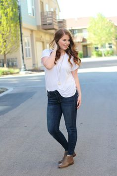 nightchayde: Spring Booties. Mixing basics. White tee shirt, skinny jeans, booties, layered necklace outfit idea.