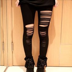 Ripped Stretchable Black Women Legging