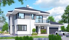Projekt domu piętrowego APS 274 + 2G o pow. 170,1 m2 z obszernym garażem, z dachem kopertowym, z tarasem, sprawdź! House Layout Plans, House Layouts, 2 Storey House Design, Modern Farmhouse Plans, Big Windows, Facade House, House Front, Home Fashion, Exterior Design