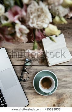 Delicious morning coffee on the wooden table along with the laptop, glasses and a paper notebook Best Coffee, Coffee Time, Morning Coffee, Coffee Cups, Coffee Barista, Coffee Shop, Cheap Coffee Maker, Brewing Equipment, Coffee Photos
