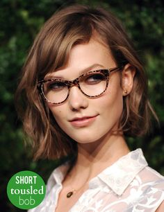 "The ""Kloss Bob."" Karlie Kloss' short, tousled bob is adorable with glasses. #wavybob #tousledbob"