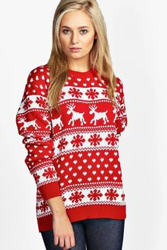 2ca0098f3 Festive reindeer and snowflake sweater is such a fun look for Christmas. I  love the