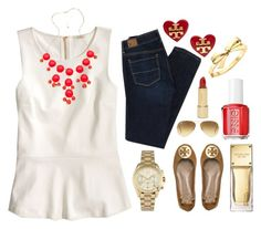 """""""Guideline #6: Valentine's Day is the perfect time to wear red....just don't overdo it!"""" by indigowaves ❤ liked on Polyvore featuring J.Crew, Blu Bijoux, American Eagle Outfitters, Michael Kors, Tory Burch, Kate Spade, Essie, Ray-Ban, heartdaycontest and preppyguidelines"""