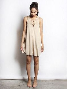 Criss-Crossin' My Mind Suede Dress - Natural from Chocolate Shoe Boutique