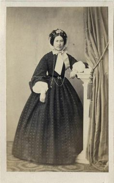 CDV Woman in Bonnet Spotted Hooped Dress by Borchardt of Riga Latvia C 1865 | eBay Amazing!! All those buttons