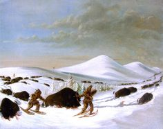 Buffalo Hunt in Winter Painting by George Catlin  kp