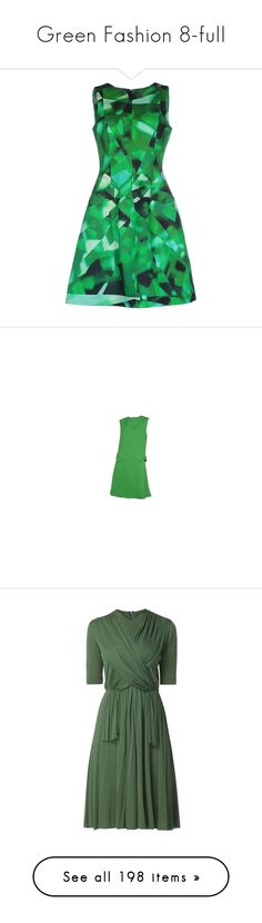 """Green Fashion 8-full"" by franceseattle ❤ liked on Polyvore featuring dresses, green, rayon dress, trapeze dress, tent dress, green knee length dress, oscar de la renta dresses, pierre cardin, vintage dresses and pre owned dresses"