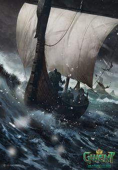 The Witcher/ Dimun Light Longship/ Gwent Card/ Skellige Viking Ship, Viking Art, Viking Warrior, Vikings, Viking Longboat, Viking Pictures, Dark Souls, The Witcher Books, Witcher Art
