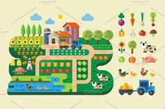 Farm life, country house. by TastyVector on @creativemarket