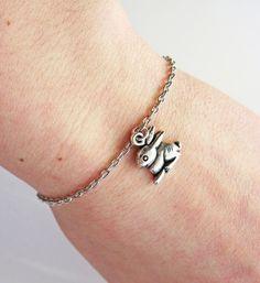 rabbit bracelet - bunny bracelet silver by Roberta Valle on etsy
