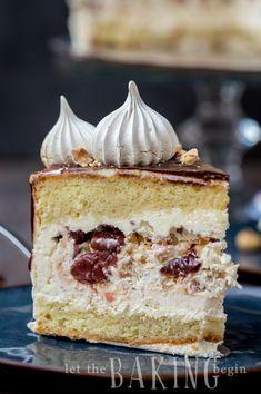 Kiev Cake - {Hazelnut Meringue, Cherry, Russian Buttercream} - Let the Baking Begin! Baking Recipes, Cake Recipes, Dessert Recipes, Kiev Cake, Just Desserts, Delicious Desserts, Hazelnut Meringue, Gateaux Cake, Cupcake Cakes