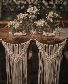 Macrame wedding chair cover, macrame wall hanging, boho wedding decor Macrame chair back for weddings, ceremonies, and events. This beautiful macrame chair back is perfect for the back of a bride's and groom's Rustic Boho Wedding, Diy Wedding, Wedding Ideas, Dream Wedding, Bohemian Weddings, Wedding Inspiration, Wedding Ceremony, Forest Wedding, Woodland Wedding