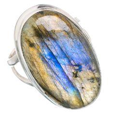 Large Labradorite 925 Sterling Silver Ring Size 8 RING769598