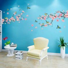 Peach Blossom Flower Tree Branch Birds Wall Stickers Home Decal Living Decor lem Removable Wall Decals, Butterfly Wall Stickers, Wall Stickers Home Decor, Wall Decal Sticker, Wall Art Decor, Room Decor, Vinyl Decor, Mural Wall, Tree Branch Decor