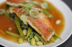#Salmonete con fondo y judias verdes #venalgure #delicious #food #foodporn #fish