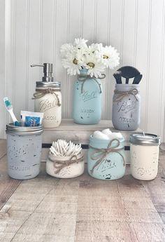 Mason Jar Bathroom set, mason jar bathroom organizer, painted mason jars, farmhouse decor - Home Decor Ideas - Mason