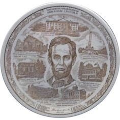 The Earthly Pilgrimage of Abraham Lincoln Staffordshire England Brown Transferware Plate