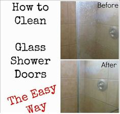 2 ingredients vinegar and dawn. Just mix those in equal parts and wipe the doors from both sides using a soft cloth and wash off using water and the doors will be clean and shiny again.