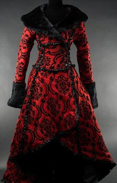Crimson Evil Queen Coat from Dracula Clothing Steampunk Coat, Steampunk Clothing, Lila Outfits, Cute Outfits, Jackets For Women, Clothes For Women, Gothic Outfits, Gothic Fashion, Marie