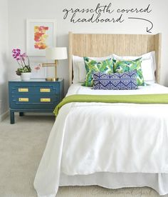 DIY Grasscloth Covered Headboard | Centsational Girl diy