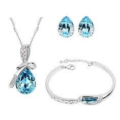 Get this Platinum Plated Blue Crystal Waterdrop Necklace Set with Bracelet at Trendymela. Shop this at just Rs.799 & Get surprise gift. Buy Now - goo.gl/omTSx3