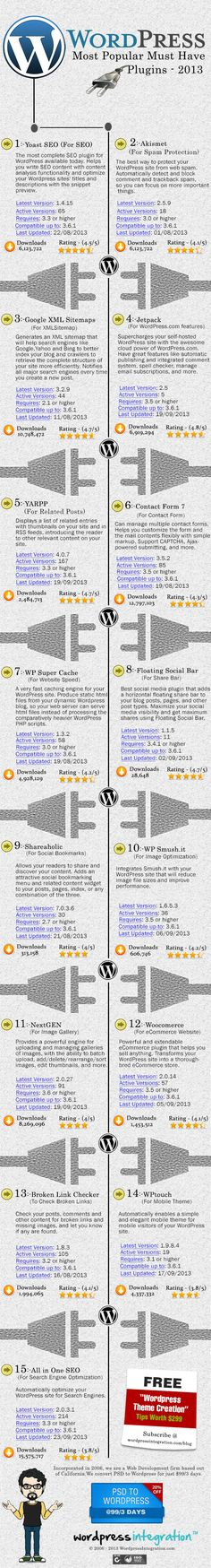 What Are 15 Popular Must-Have Plugins On WordPress 2013? #infographic