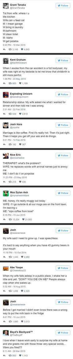 My husband resembles some of these remarks - muggy out! Married? Here's some tweets for you.