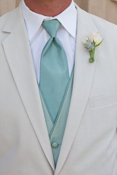 Tie and vest. Love the mint look for summer weddings. Clean & Cool.