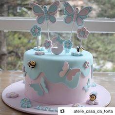 Cake Recipes Vanilla Birthday - New ideas Butterfly Birthday Cakes, Baby Birthday Cakes, Butterfly Cakes, Cakes With Butterflies, Girly Cakes, Baby Girl Cakes, Love Cake, Baby Shower Cakes, Themed Cakes