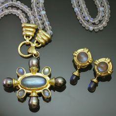 Elizabeth Locke Labradorite brooch/necklace and earrings