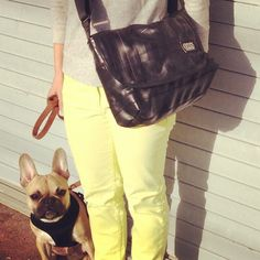 Our Porter is great for your everyday travels. It is made from upcycled bike inner tubes and goes perfect with adorable french bulldogs and neon denim. www.evenodd.us