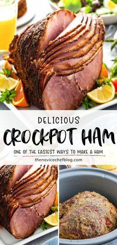 Thanksgiving Dinner For Two, Easy Thanksgiving Recipes, Ham Recipe With Coke, Crockpot Recipes, Cooking Recipes, Pork Recipes, Pineapple Glaze, Ham Dinner, Dinner Ideas