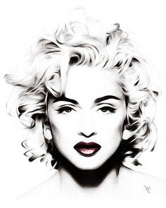 Madonna - Black and White - Head shot - Pop Art by wcsmack Marylin Monroe, Marilyn Monroe Artwork, Madonna Tattoo, Madonna Art, Madonna Vogue, Black And White Artwork, Black And White Canvas, Black White, Pop Art Tattoos