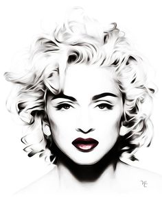 black and white artwork | ... › Portfolio › Madonna - Black and White - Head shot - Pop Art