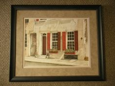 Original art of Charleston SC using a red tone inner mat brings out the shutters.