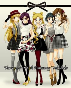 Oh my gosh their styles are so cute, reminds me of my college friends! Sailor Moon!