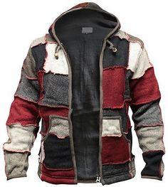 Mens Hippy Patch Winter Jacket Multicoloured Wool Fleece Hippie Sweater Hoody